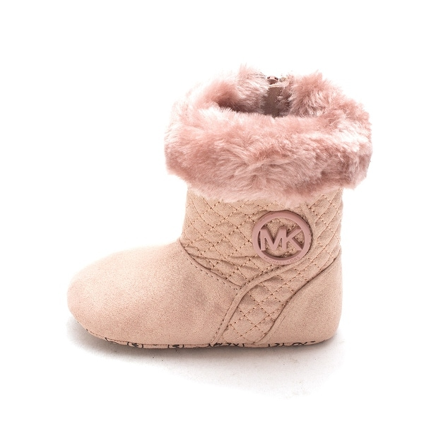 Michael Kors Baby Kelly Fabric Zipper Mid Calf, Pink, Size 9-12 Months US Infant