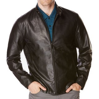 Perry Ellis NEW Dark Brown Mens Size Large L Faux-Leather Bomber Jacket