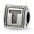 Sterling Silver Reflections Letter T Triangle Block Bead (4mm Diameter Hole) - Thumbnail 0