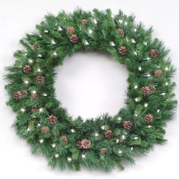 12' Pre-Lit Cheyenne with Pine Cones Commercial Christmas Wreath - Clear Lights - green