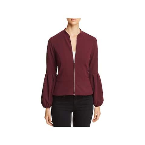 Vince Camuto Womens Peplum Jacket Bishop Sleeves Office Wear