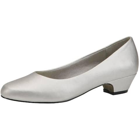 Easy Street Womens Halo Dress Heels faux Leather Metallic - Silver