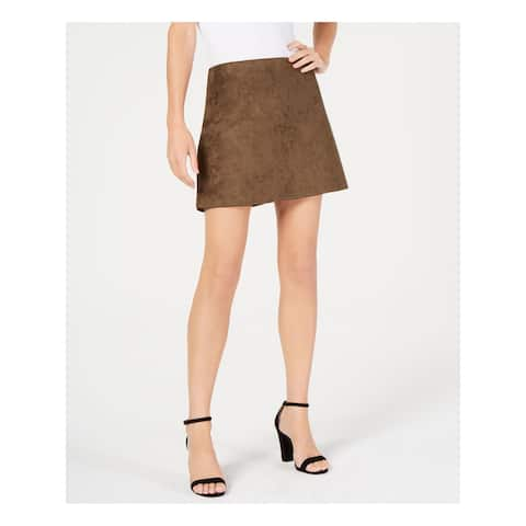 FRENCH CONNECTION Womens Brown Faux Suede Mini Skirt Size 10