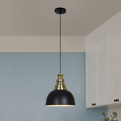 Alaina Matte Black+Polished Gold 1-Light Metal Dome Shade Pendant Light