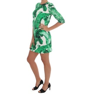Dolce & Gabbana Banana Leaf Short Sleeve Shift Dress - it40-s