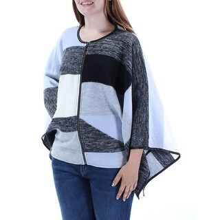 ALFANI $180 New 1206 Gray Color Block Zip Neck Dolman Poncho Sweater L B+B