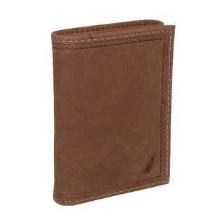Nautica Men's Leather Gunwale Trifold Wallet - Tan - One Size