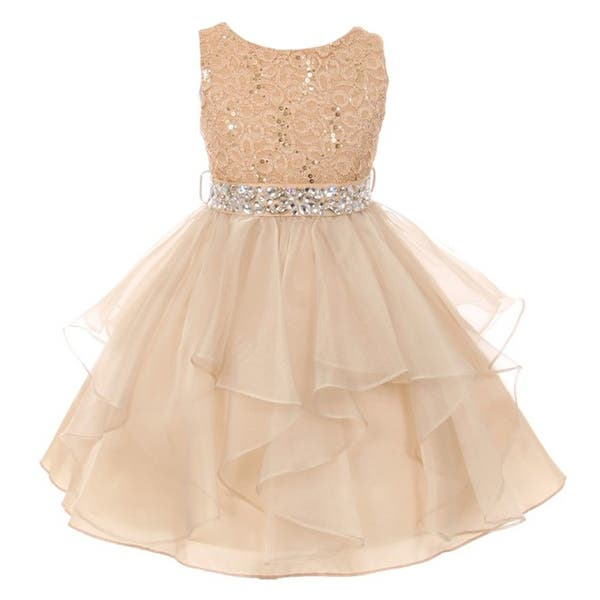 e988b8ae35164 Shop Little Girls Gold Stretch Lace Crystal Tulle Ruffle Flower Girl Dress  - Free Shipping Today - Overstock - 18161672 - 6
