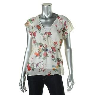Zara Trafaluc Womens Floral Print Surplice Blouse - M