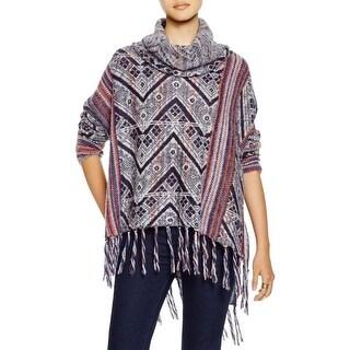Free People Womens Sweater Printed Finge