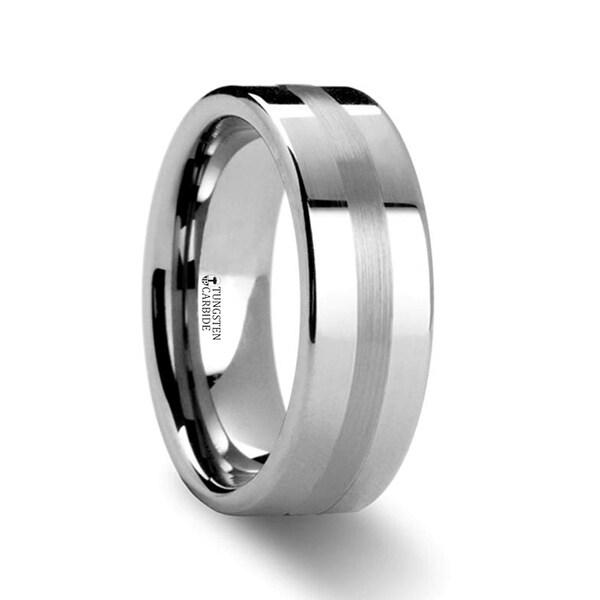 IVAR Platinum Inlaid Flat Tungsten Wedding Band - 6mm & 8mm