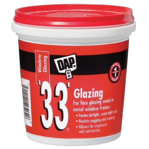 Dap 12121 Glazing Compound, 1 Pint, White, #33