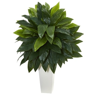 Nearly Natural Cordyline Artificial Plant in White Tower Planter