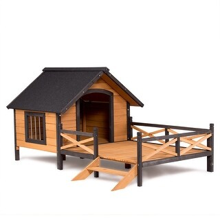 Gymax Large Dog House Lodge w Porch Deck Kennels Crates Spacious Deck Keep Rain Out - Natural Wood
