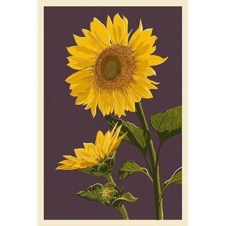 Sunflowers - Letterpress - Lantern Press Artwork (100% Cotton Towel Absorbent)