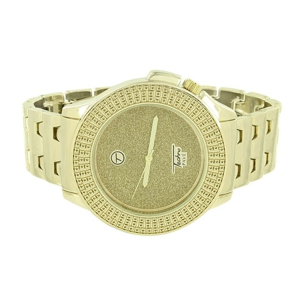 Mens Gold Finish Watch Stainless Steel Back Illusion Dial Classy Techno Pave