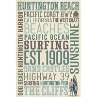 Huntington Beach, CA - Typography - LP Artwork (Art Print - Multiple Sizes)