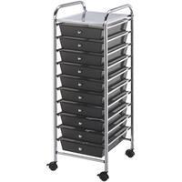 """Storage Cart W/10 Drawers-13""""X38""""X15.5"""" Smoke"""