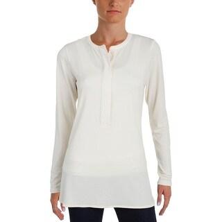 Lauren Ralph Lauren Womens Blouse Side Slit Long Sleeves - s