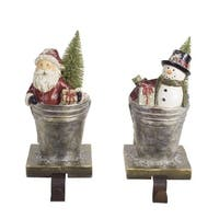 "Set of 2 Santa Claus and Snowman Stocking Holders 8""H - silver"