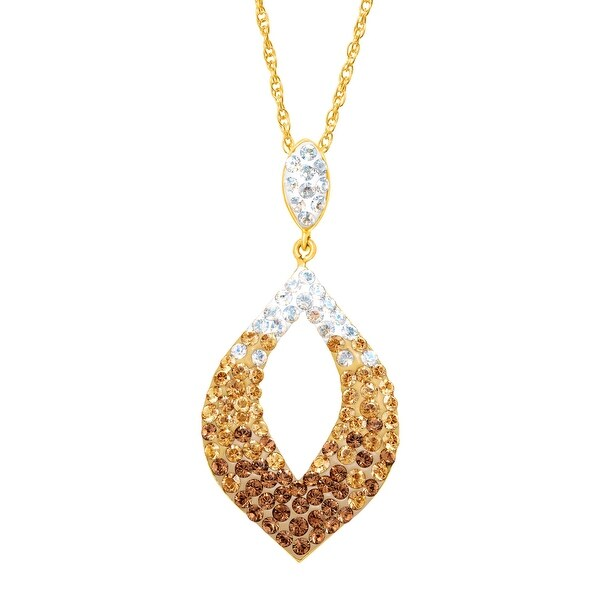 Crystaluxe Open Pendant With Swarovski Crystals in Gold-Plated Sterling Silver - Brown