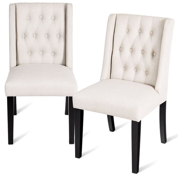 Set Of 2 Dining Chairs: Shop Costway Set Of 2 Dining Side Chairs Wing Back Button