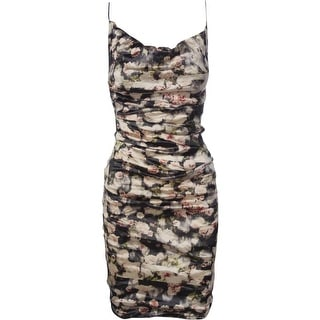 Nicole Miller Womens Ruched Floral Print Cocktail Dress