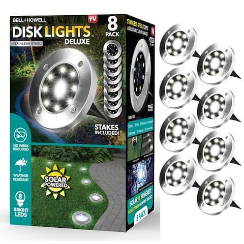 Bell Howell Solar Powered LED Disk Lights 8 Pack