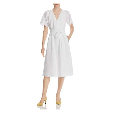JOIE White Short Sleeve Midi Dress 0