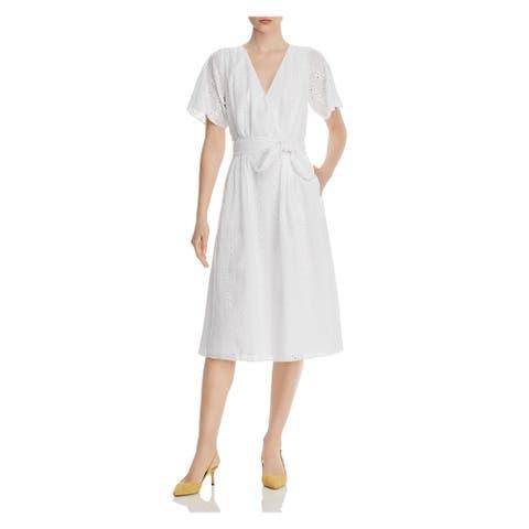 JOIE White Short Sleeve Midi Dress 6