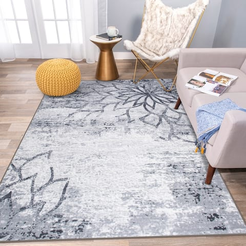Modern Floral Abstract Non Skid Area Rug