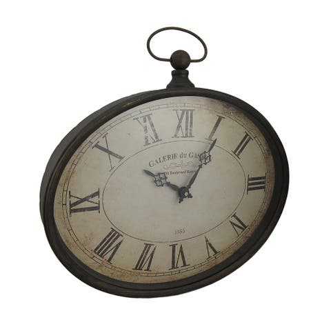 Oval Pocket Watch Style Distressed Finish Wall Clock - 16.5 X 16.5 X 2 inches