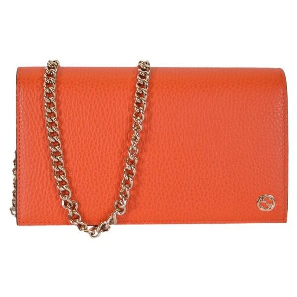 d2d17ee42c3c Gucci 466506 Orange Leather Interlocking GG Crossbody Wallet Bag Purse - 8