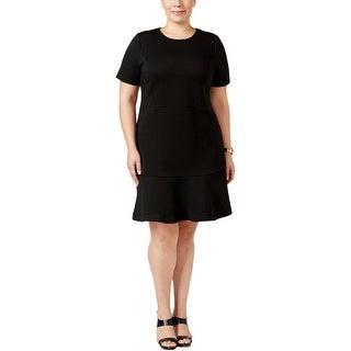 MICHAEL Michael Kors Womens Plus Wear to Work Dress Ribbed Peplum