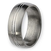 Chisel Brushed and Polished Grooved Titanium Ring (8.0 mm)
