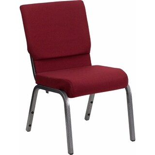 Offex Hercules Series 18.5''W Burgundy Fabric Stacking Church Chair with 4.25'' Thick Seat and Silver Vein Frame