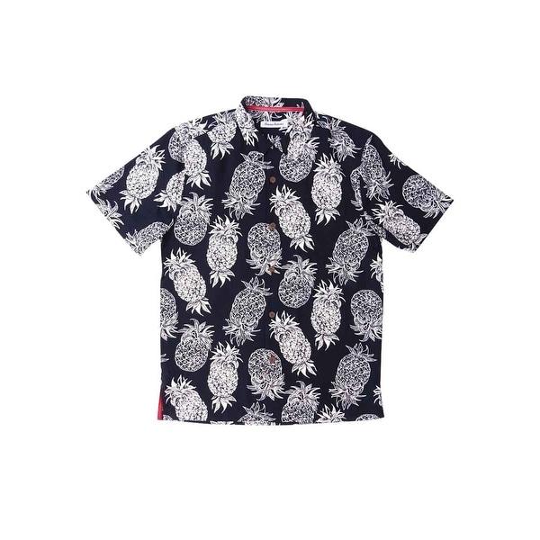Tommy Bahama Men's Pina Pinata Pineapple-Print Silk Camp Shirt (S, Black) -  Black - S