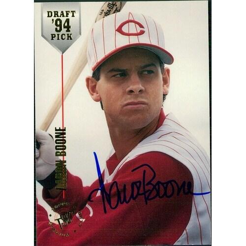 Signed Boone Aaron Cincinnati Reds 1994 Topps Baseball Card Autographed
