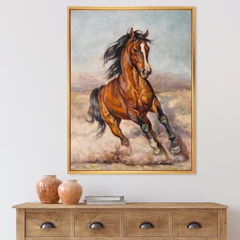 Designart 'Painting of A Horse In The Race' Farmhouse Framed Canvas Wall Art Print