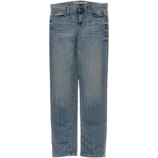 DKNY Jeans Womens Soho Mid-Rise Five-Pocket Straight Leg Jeans