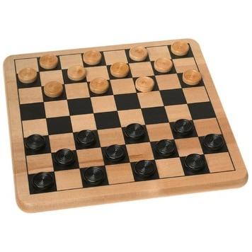Wood Checkers Board Game Set - multi