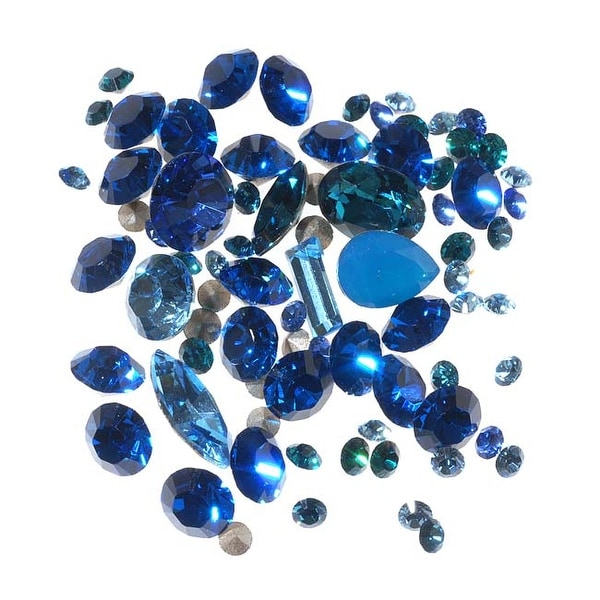 SWAROVSKI ELEMENTS Chaton Mix - Assorted Shapes And Sizes - Blues (4.5 Grams)
