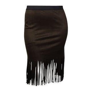 Karen Kane Women's Raw-Fringed Faux Suede Skirt (L, Brown) - L