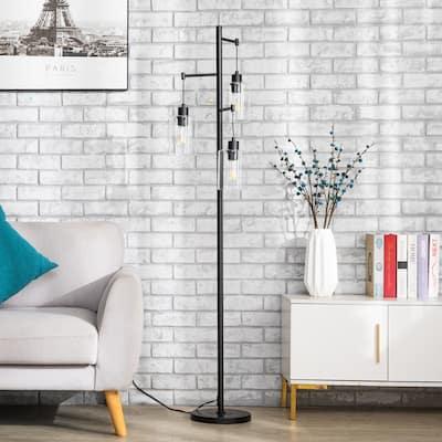"CO-Z 3 Light 65"" Black Industrial Floor Lamp Hanging Glass Shades"