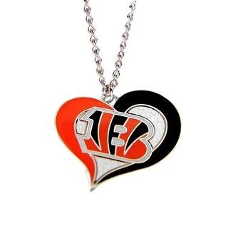 Cincinnati Bengals NFL Swirl Heart Necklace