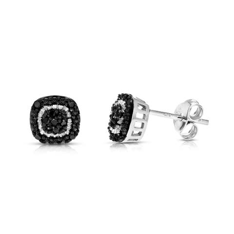 1/8 cttw Black Diamond Earrings in .925 Sterling Silver with Rhodium Plating