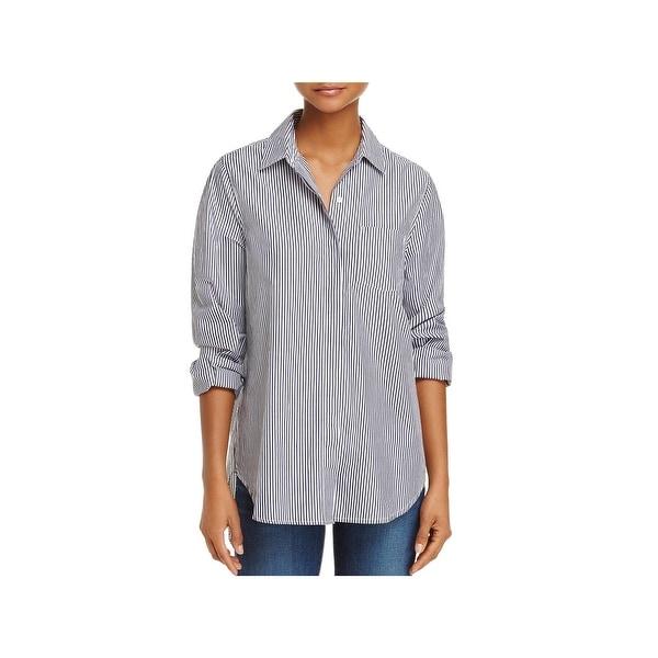 d930c58469e Shop Trovata Birds of Paradis Womens Button-Down Top Cotton Striped ...
