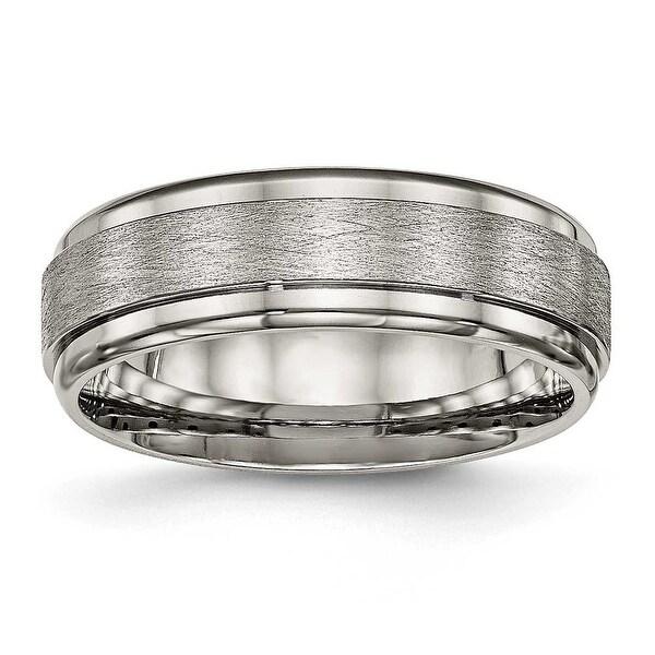 Titanium Brushed and Polished Ridged Edge Ring (7 mm)