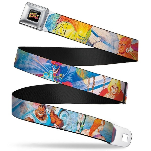 Street Fighter Ii Logo Full Color Black Street Fighter 8 Character Seatbelt Belt
