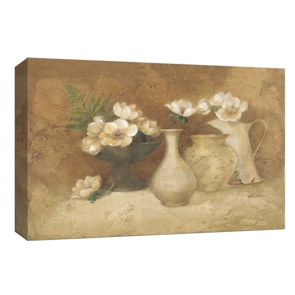 """PTM Images 9-153919 PTM Canvas Collection 8"""" x 10"""" - """"White Anemones with Fern"""" Giclee Flowers Art Print on Canvas"""
